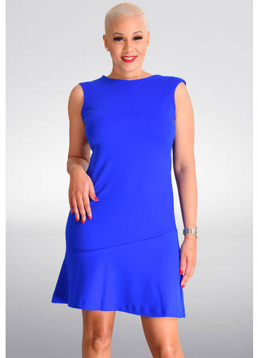 Shelby & Palmer RUPIKA-Solid Round Neck Dress with Ruffle Hem