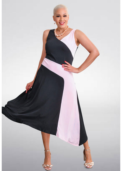 YATZIRI- V-Neck Color Block Dress