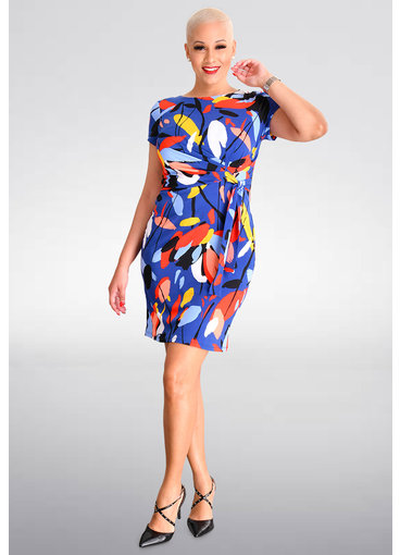 Shelby & Palmer YOANA-  Printed Short Sleeve Dress with Tie @ Side