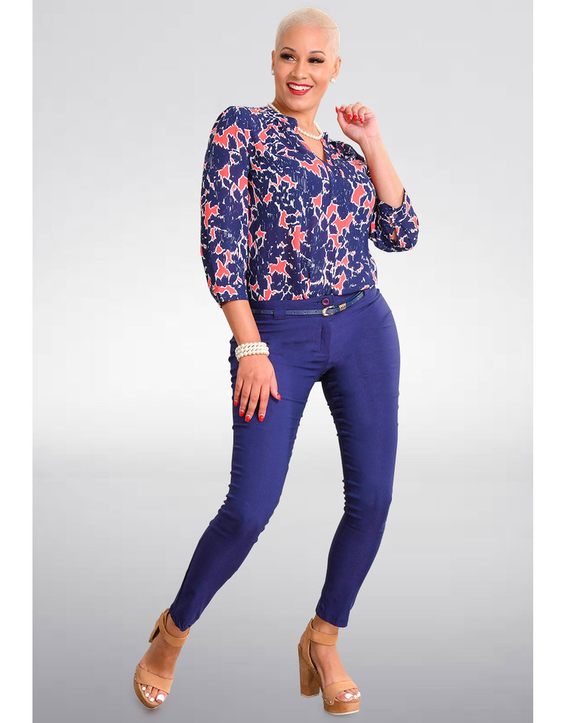 Jessica Rose VINA- Printed V-Neck 3/4 Sleeve Top