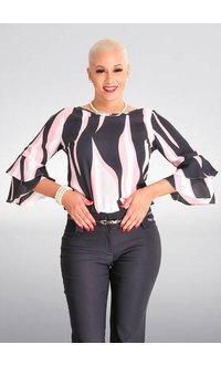 Jessica Rose VALLA- Chiffon 3/4 Sleeve Floral Top