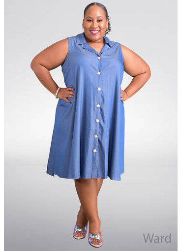 MLLE Gabrielle WARD- Plus Size Armhole Dress with Collar