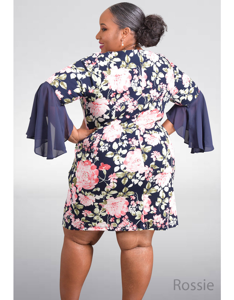 Shelby & Palmer ROSSIE- Plus Size Floral Print Dress with Full Sleeves