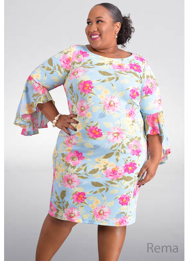 Shelby & Palmer REMA- Plus Size Floral Three Quarter Sleeve Dress