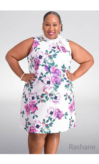 Jessica Howard RASHANE- Plus Size Floral Armhole Dress with Tie