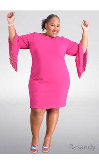 Shelby & Palmer RASANDY- Plus Size Trumpet Sleeve Dress