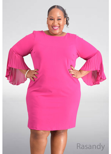 Shelby & Palmer RASANDY- Plus Size Trumpet Sleeve Dress