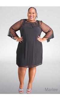 MARLEE- Plus Size Mesh Bell Sleeve Dress