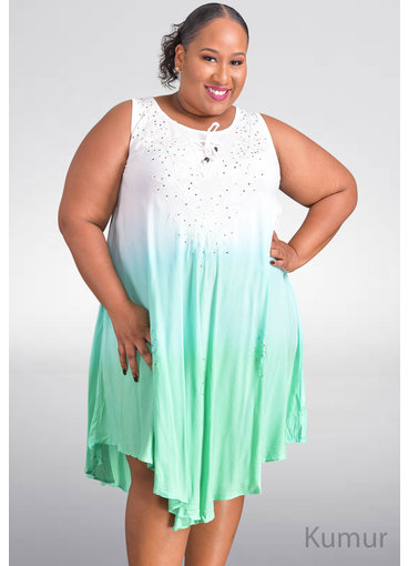 SEVEN ISLANDS KUMUR- Plus Size Tie-Dye Tent Bottom Dress