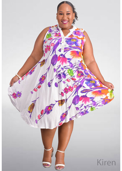SEVEN ISLANDS KIREN- Plus Size Floral Print Armhole Dress