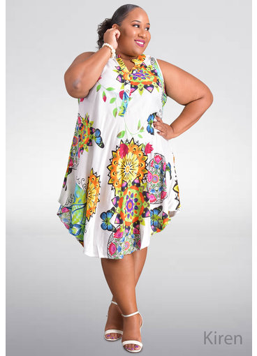 SEVEN ISLANDS KIREN- Plus Size Printed Armhole Dress