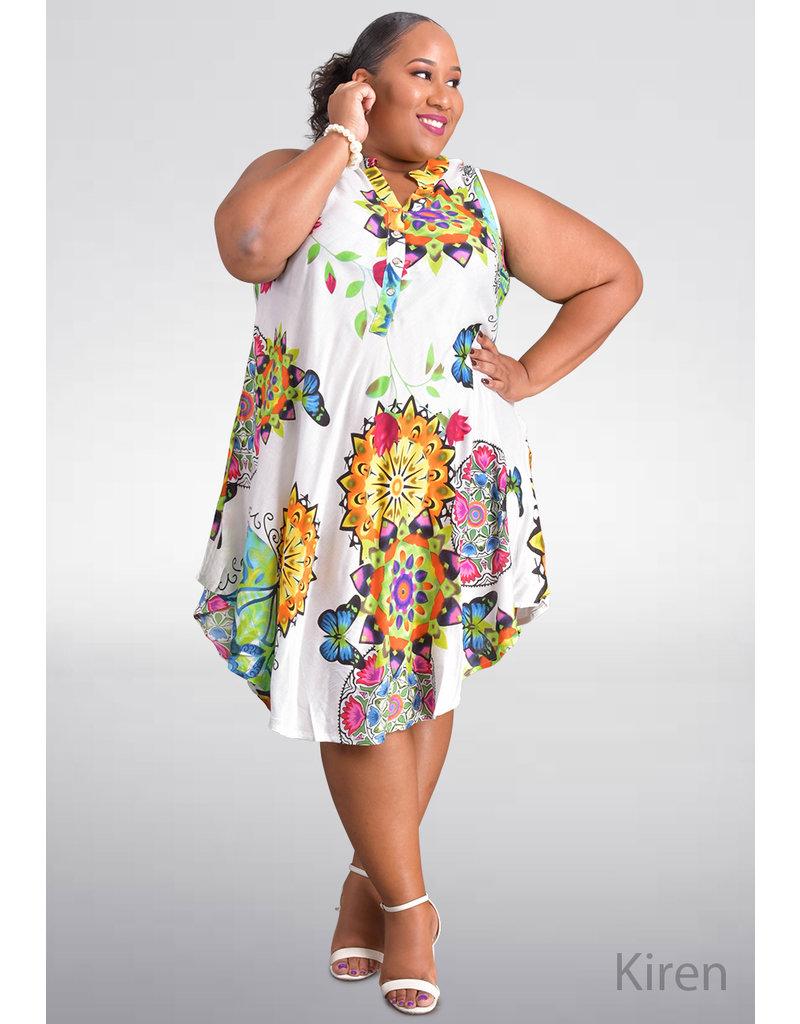 SEVEN ISLANDS KIREN- Plus Size Printed Armhole Dress