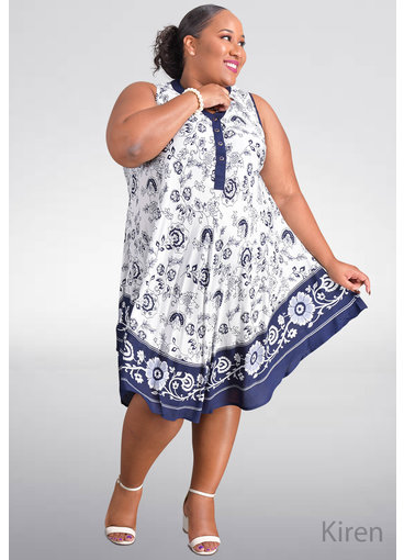 SEVEN ISLANDS KIREN- Plus Size Printed Armhole Dress with Buttons