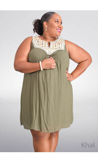 KHAL- Plus Size Embroidered Dress with Split at Neck