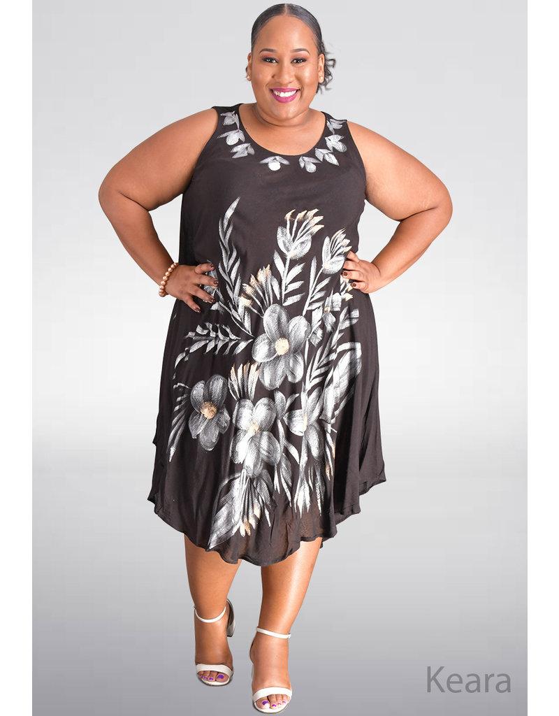 SEVEN ISLANDS KEARA- Plus Size Flower Print Hi-Lo Dress