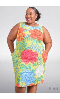 KARRI- Plus Size Floral Print Sheath Dress with Pockets