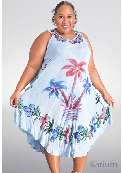 SEVEN ISLANDS KARIUM- Plus Size Armhole Floral Print Tent Bottom Dress