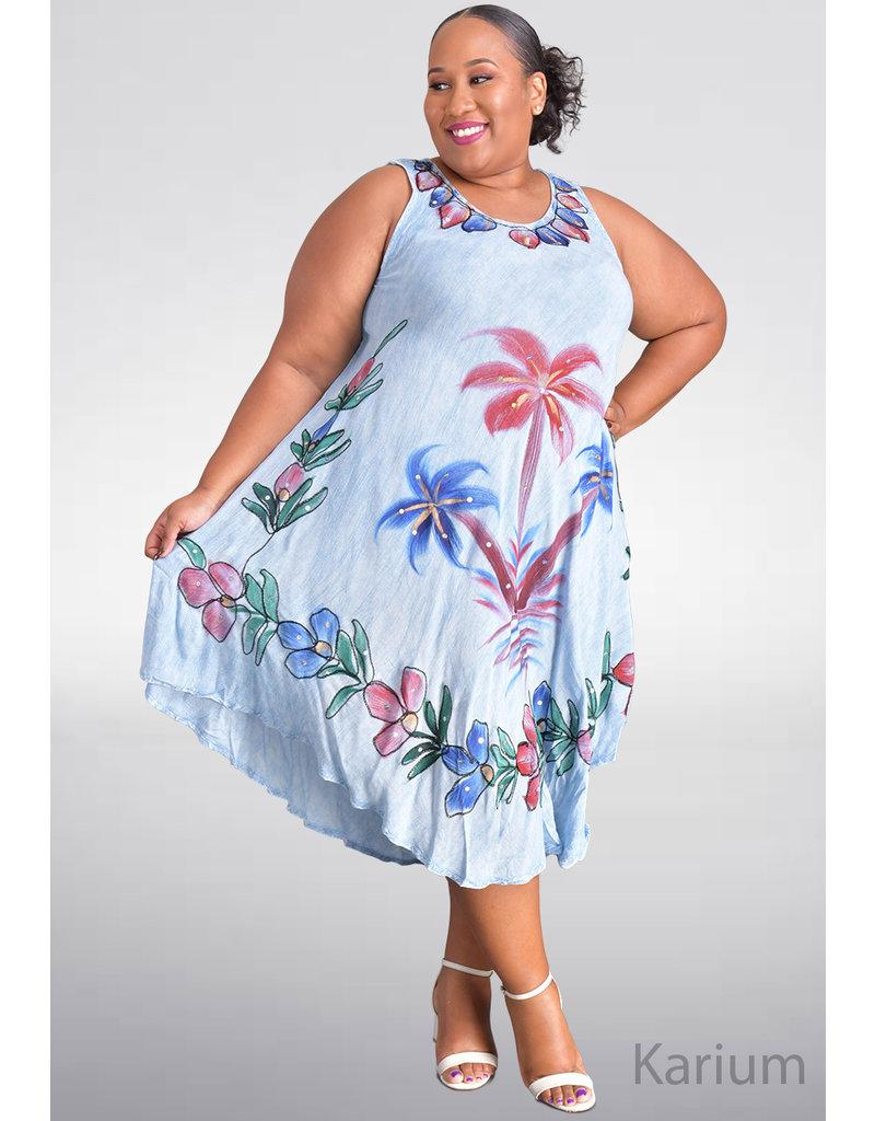 SEVEN ISLANDS KARIUM- Plus Size Armhole Floral Print Tent Bottom Dress