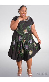 SEVEN ISLANDS KALISHA- Plus Size Flower Print Short Sleeve Dress