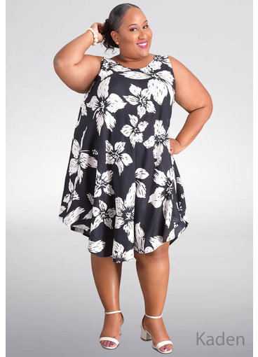 SEVEN ISLANDS KADEN-Plus Size Floral Print Tent Bottom Dress