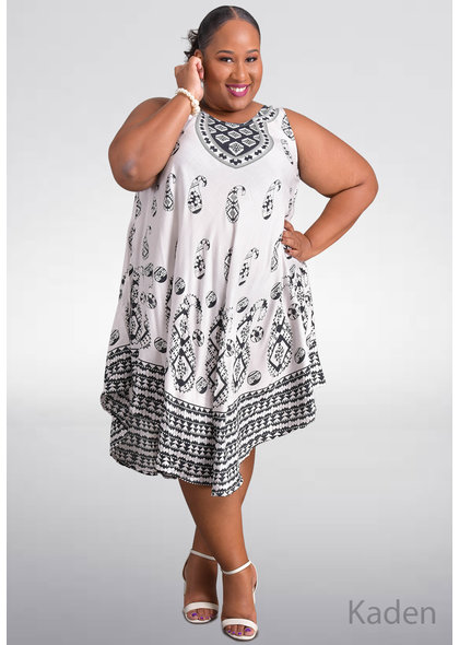 SEVEN ISLANDS KADEN-Plus Size Printed Tent Bottom Dress