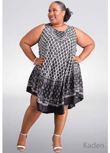 SEVEN ISLANDS KADEN-Plus Size Circle Print Tent Bottom Dress
