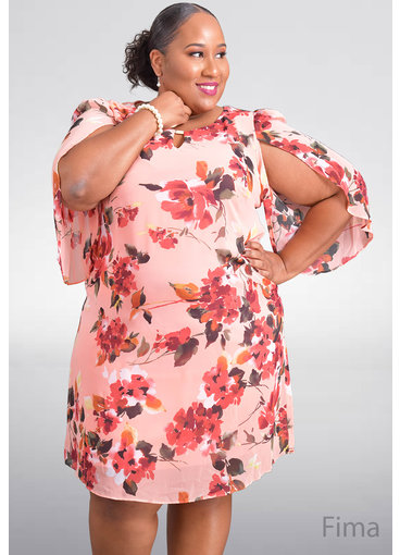 FINA- Plus Size Printed Dress with Wide Sleeve