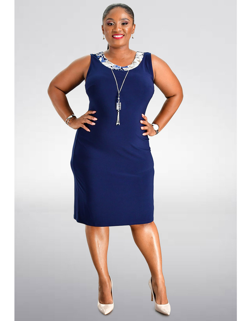 IWONA- Plus Size Jacket and Dress with Necklace Piece