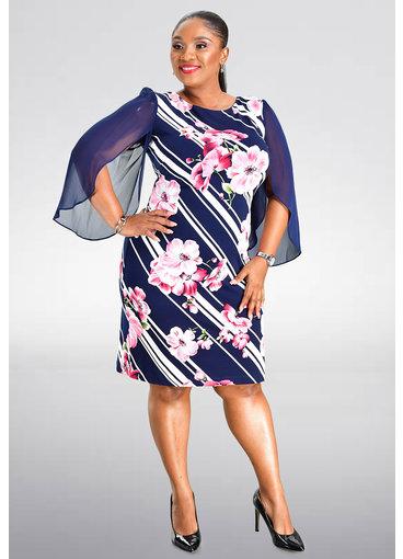 ISEDA- Plus Size Printed Dress with Sheer 3/4 Sleeves
