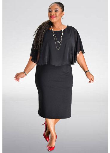 ROLANDA- Plus Size Chiffon Caplet Dress