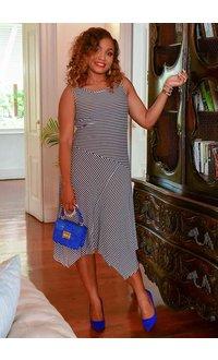 KIMANDA- Striped Armhole Dress with Points