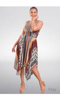 FLOS-Printed V-Neck Dress with Kerchief Bottom