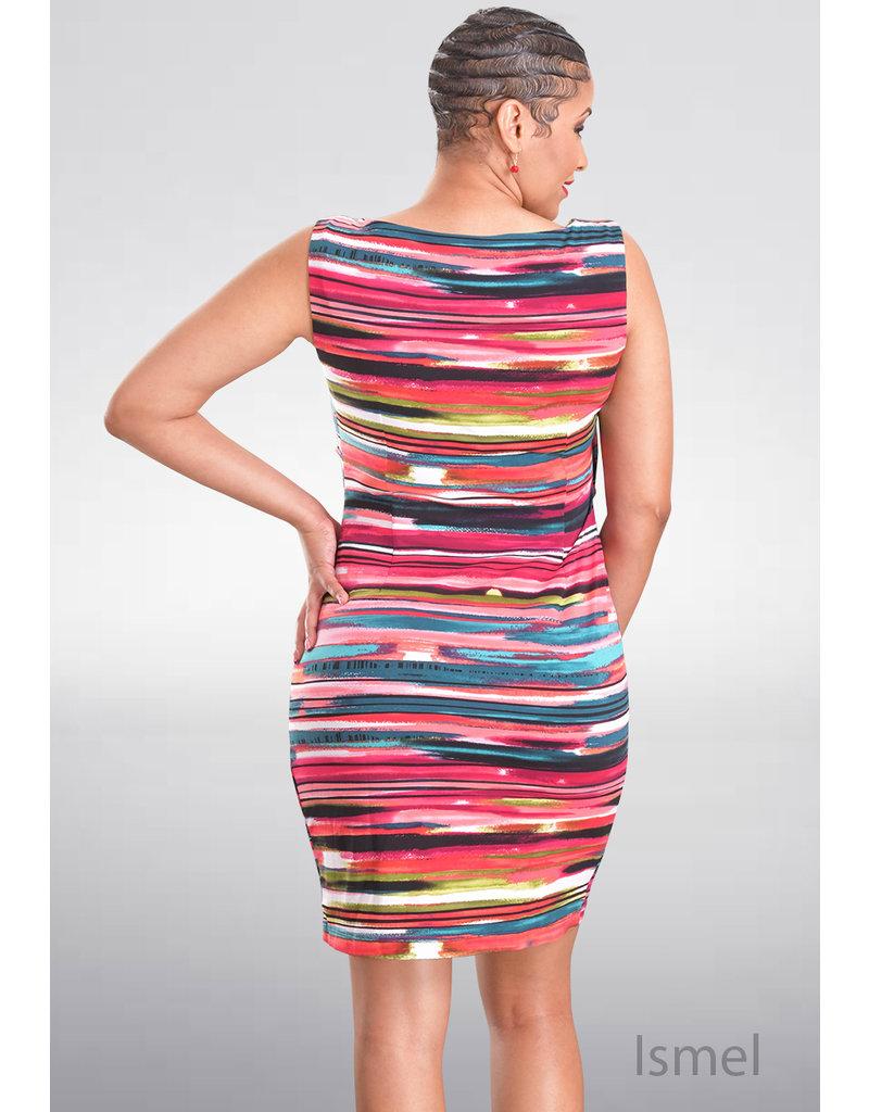 ISMEL- Armhole Multi Stripe Layered Dress