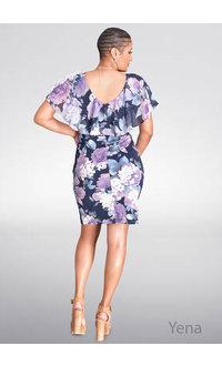 YENA- Floral Print Caplet Dress