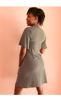 Nina Leonard IDERI- Pinstripe T-shirt Dress