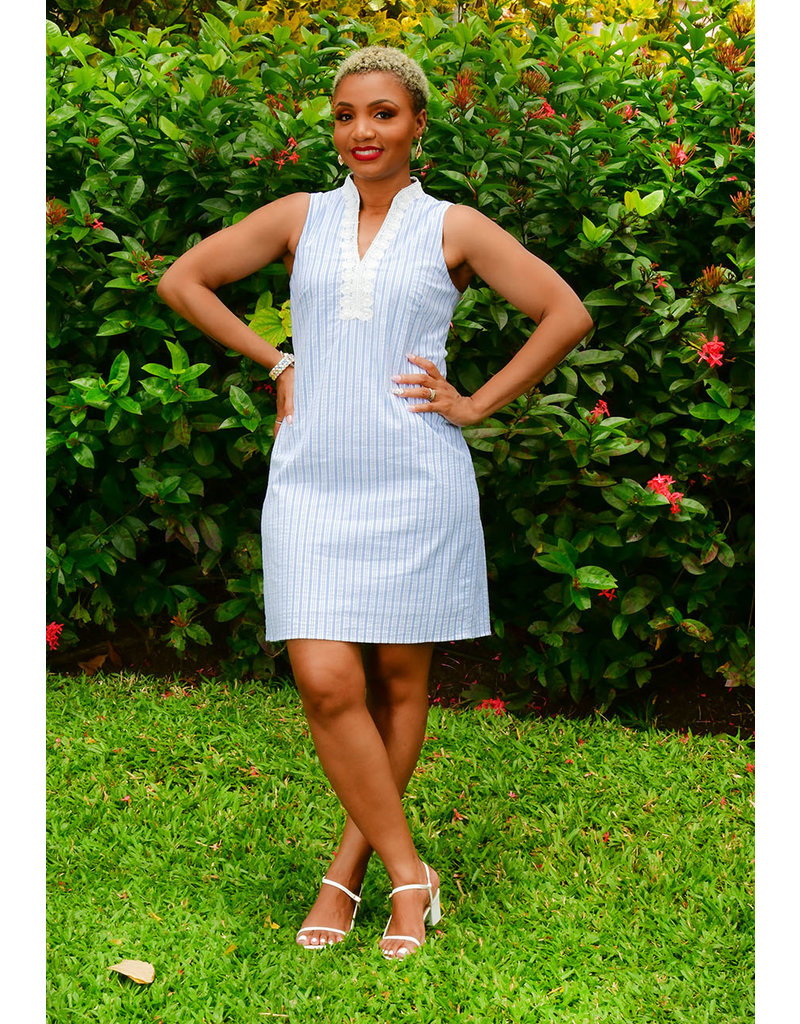 KACY- Pinstripe Shirt Dress with Embroidered at Neck