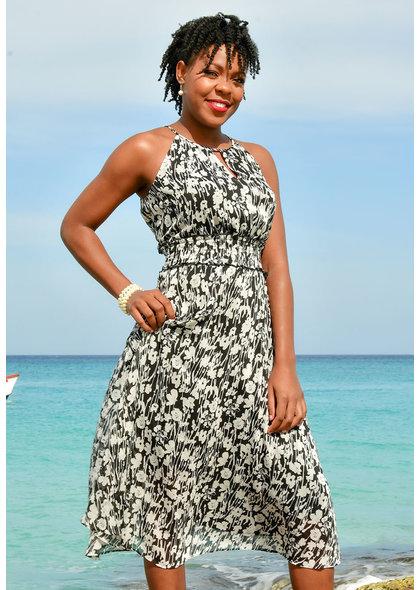 FERGIO- Maxi Length Strappy Print Dress with Elastic Waist