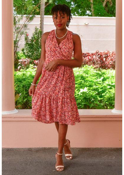 ROSHA- Floral Sleeveless Faux Wrap Dress
