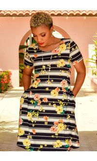 Nina Leonard IYAMA- Printed Dress with Lace up Back