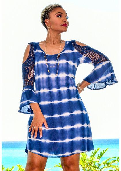 Nina Leonard KADESIA- Tie-Die Dress with Crochet Inserts