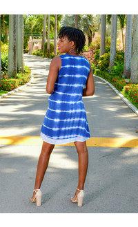 Nina Leonard RACHIE-Tie Die Shift Dress with Pockets