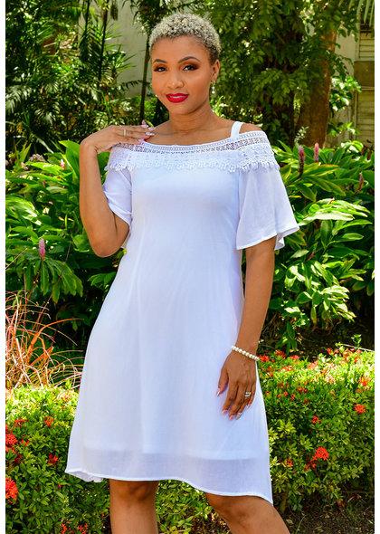 Nina Leonard KEAN- Off Shoulder Dress with Crochet Trim