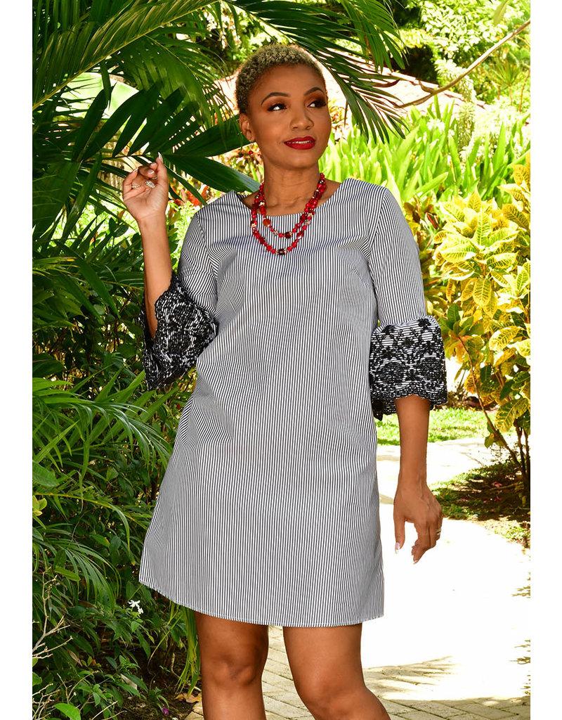 Nina Leonard KELLZ-Pinstripe Shirt Dress with Three Quarter Sleeve