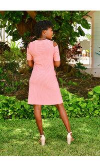 Nina Leonard IKERA- Stripe Dress with Cut out on the Shoulders