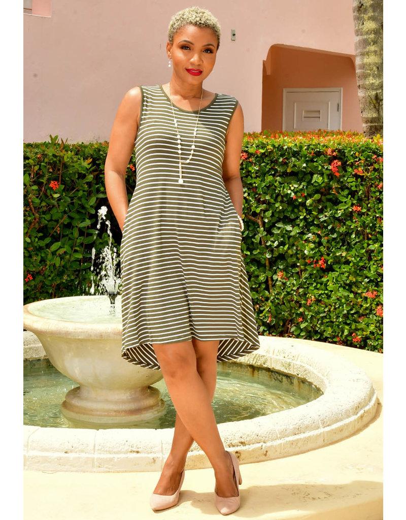 Nina Leonard ISHARP-Sleeveless Stripe Dress with high low hemline