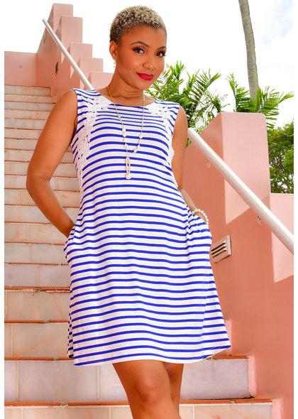 Nina Leonard ILENI- Stripe Dress with Pockets