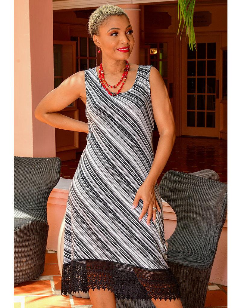 Nina Leonard IANO- Printed Sleeveless Dress with Lace Trim