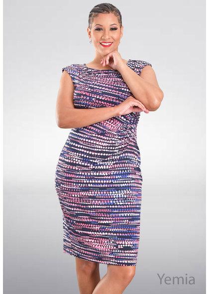 YEMIA- Printed Faux Wrap Dress