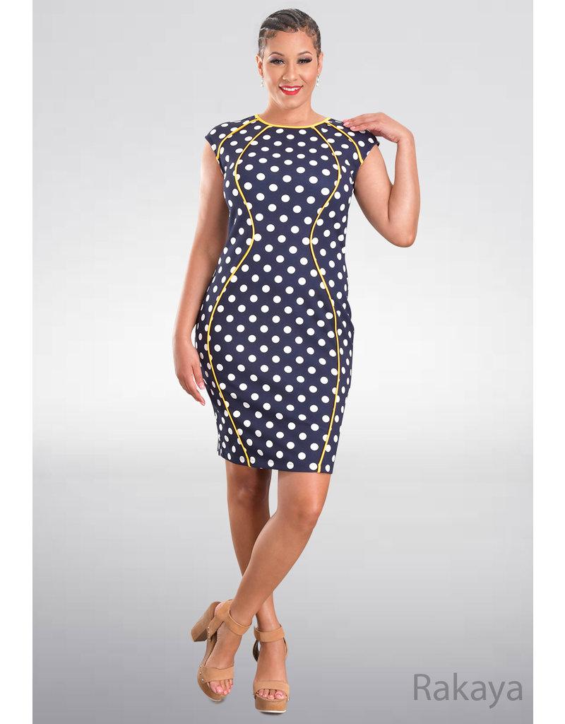 RAKAYA- Polka Dot Dress with Contrast Trim