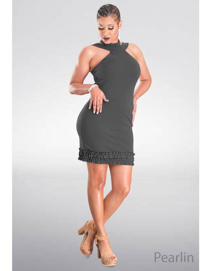 Bebe PEARLIN- Solid Strappy Halter Dress